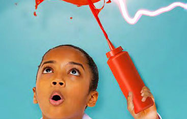 A child squirting ketchup in the air.