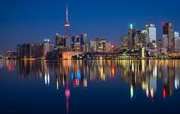 The Toronto skyline in the evening.