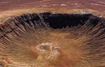 Photograph of an impact crater